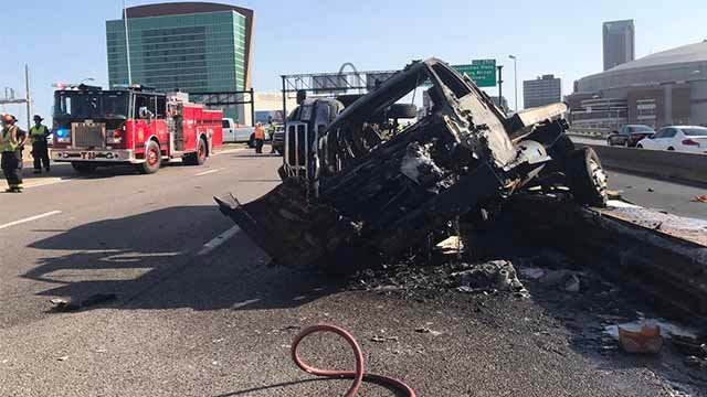 A truck fire has closed lanes of I-44 near the Dome at America's Center. Credit: St. Louis Fire Department