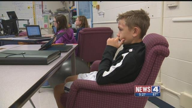 Some students at Rockwood South Middle School aren't sitting at traditional desks, but are using yoga balls, upholstered chairs and standing tables. Credit: KMOV