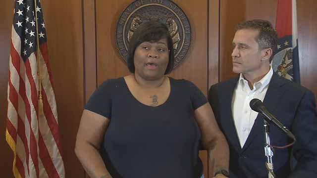 Christina Wilson and Mo. Gov. Eric Greitens are urging peace ahead of the Jason Stockley verdict. Credit: KMOV