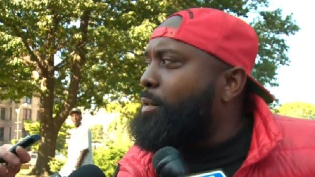 Mike Brown Sr. in downtown St. Louis Friday (KMOV)