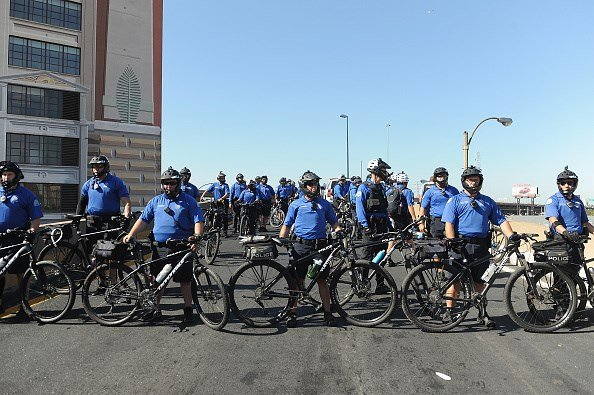 Law enforcement officers are seen blocking off a highway onramp as protestors march through the city streets following a not guilty verdict on September 15, 2017 in St. Louis, Missouri (Getty Images)