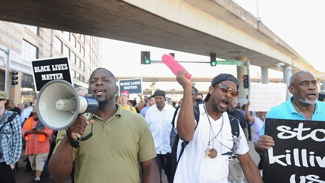 Protestors march through the city streets following a not guilty verdict on September 15, 2017 in St. Louis, Missouri. Protests erupted today following the acquittal of former St. Louis police officer Jason Stockley