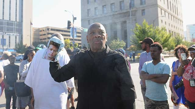 Community leader and activist Anthony Shahid leads a protest march through the city streets following a not guilty verdict on September 15, 2017 in St. Louis, Missouri. (Getty Images)
