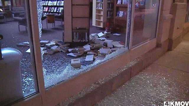 The branch of the St. Louis Public Library in the Central West End was damaged during unrest after the Jason Stockley verdict. (credit: KMOV)