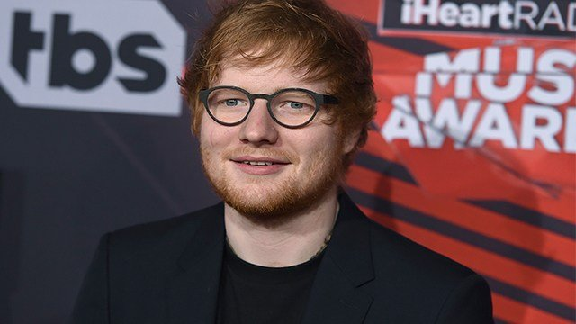 Ed Sheeran arrives at the iHeartRadio Music Awards at the Forum on Sunday, March 5, 2017, in Inglewood, Calif. (AP Photo)