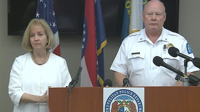 Mayor Lyda Krewson and interim police chief Lawrence O'Toole speak at Saturday press conference. (KMOV)