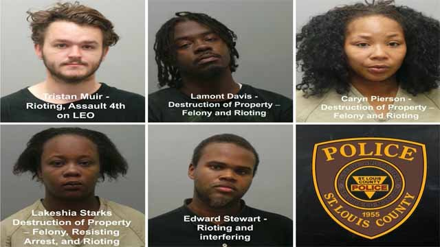 These five are among the seven who were charged in connection to protests and unrest in the Delmar Loop on Sautrday. Credit: STLCO PD