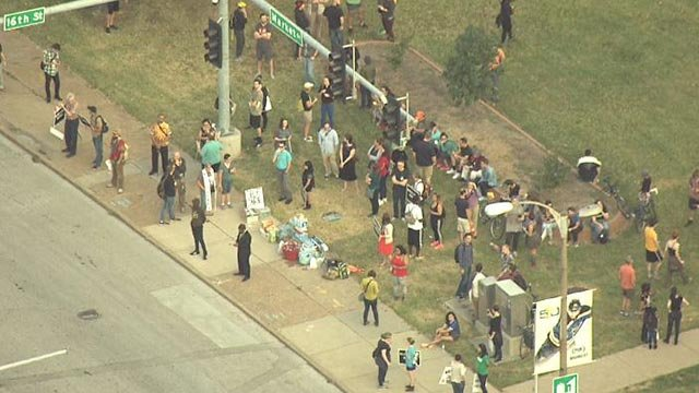 Protesters gathered at 16th and Market in downtown St. Louis Monday morning (Credit: KMOV)