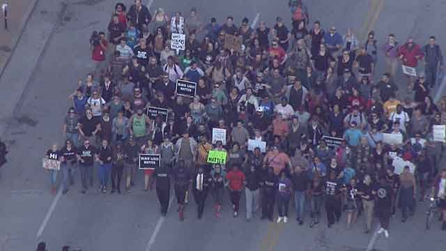 Protesters marching through St. Louis streets. Credit :KMOV