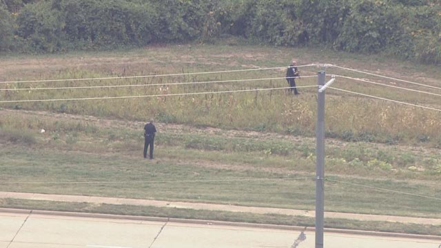 Police are searching for a suspect involved in a police pursuit that ended near I-270, Monday afternoon. (Credit: KMOV)