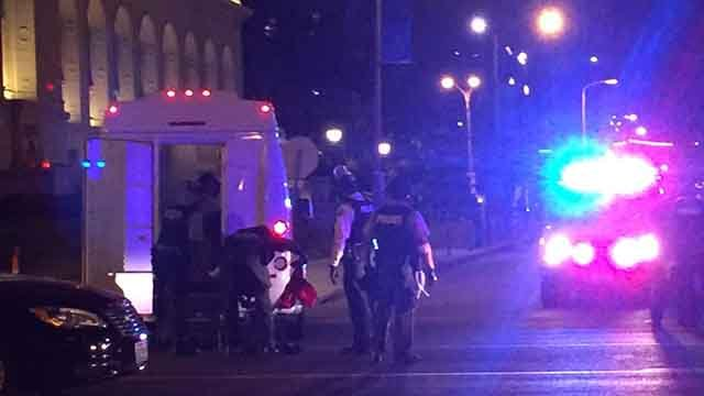Police arresting someone during demonstrations in downtown St. Louis Sunday night. Credit: KMOV