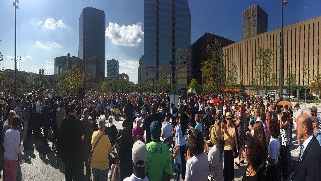 Protest organizers say they are taking time to rest Tuesday but about 200 people gathered today for a rally for peace and justice. (Credit: KMOV)