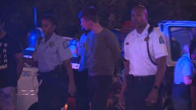 Police making an arrest during protests Sunday night in downtown St. Louis. Credit: KMOV