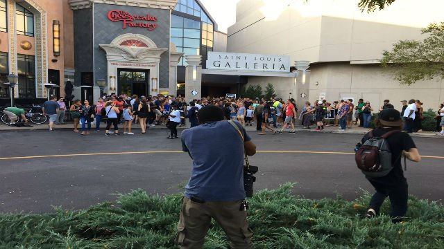 Protesters outside the Galleria on Wednesday. Credit: KMOV