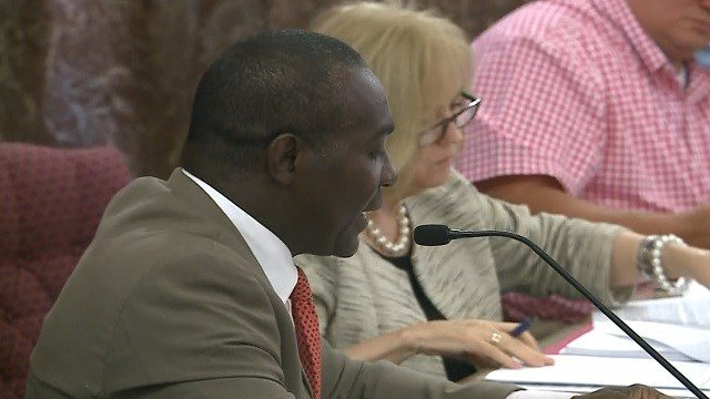 Aldermanic President Lewis Reed speaks during a contentious meeting about body cameras at City Hall. Credit: KMOV