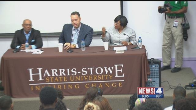 Harris-Stowe State University held a panel discussion on the African American  community in St. Louis. Credit: KMOV