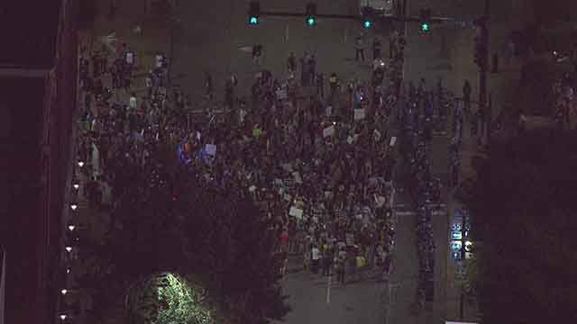 Hundreds protest the Jason Stockley verdict outside of Busch Stadium before the Billy Joel concert. Credit: KMOV