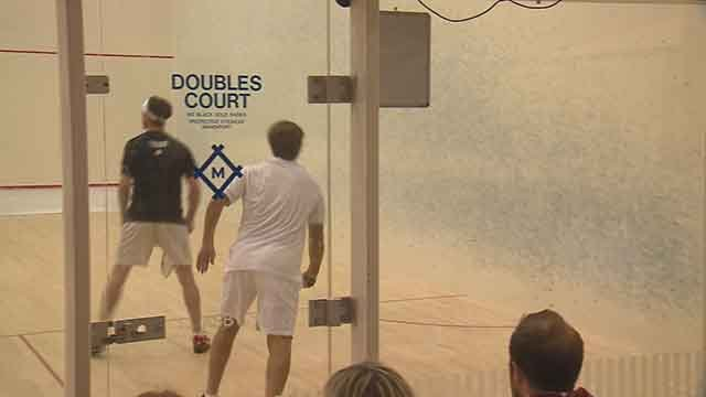 Action during the World Squash Doubles Championship on Thursday. Credit: KMOV