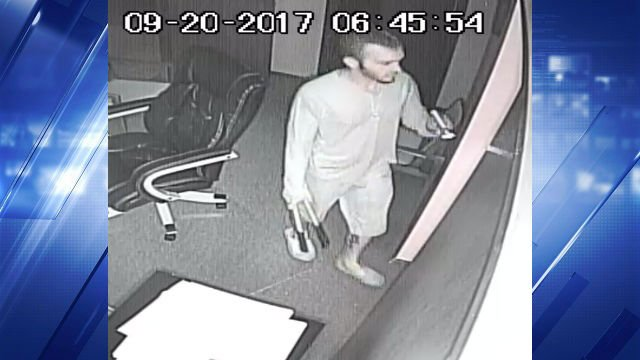 Surveillance shows Cody Tyler Cameron breaking into Corinth Christian Church and taking items. (Credit: Lincoln County Sheriff's Office)