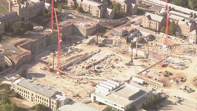 A student was found dead at a construction site on the Washington University campus Friday. Credit: KMOV