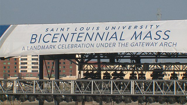 For the first time, a Catholic mass was celebrated on the Arch grounds. The mass is part of St. Louis University's Bicentennial Celebration. (KMOV)