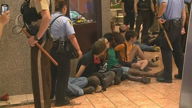 Police make multiple arrests after protesters march through the St. Louis Galleria on Saturday. (Credit: KMOV)