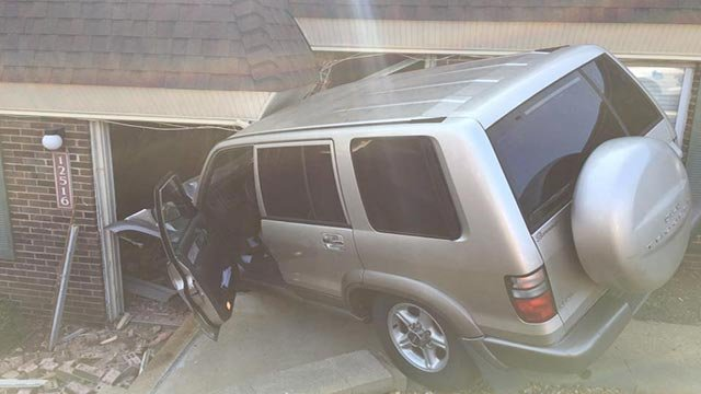 A vehicle crashed into a Maryland Heights building Tuesday (Credit: Maryland Heights Fire Protection District / Facebook)