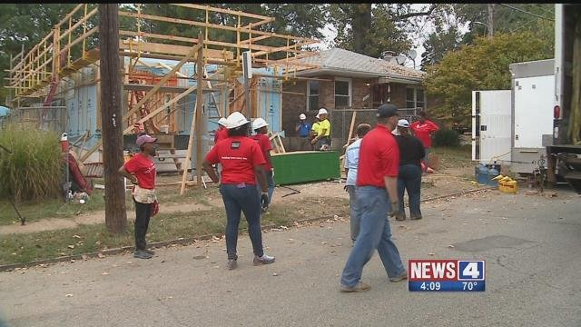 Cooler weather was a welcome relief to Habitat for Humanity volunteers in South City. Credit: KMOV