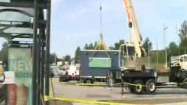 "A ""Link Market Food Kiosk"" being installed at a North County Metro stop (Credit: KMOV)"