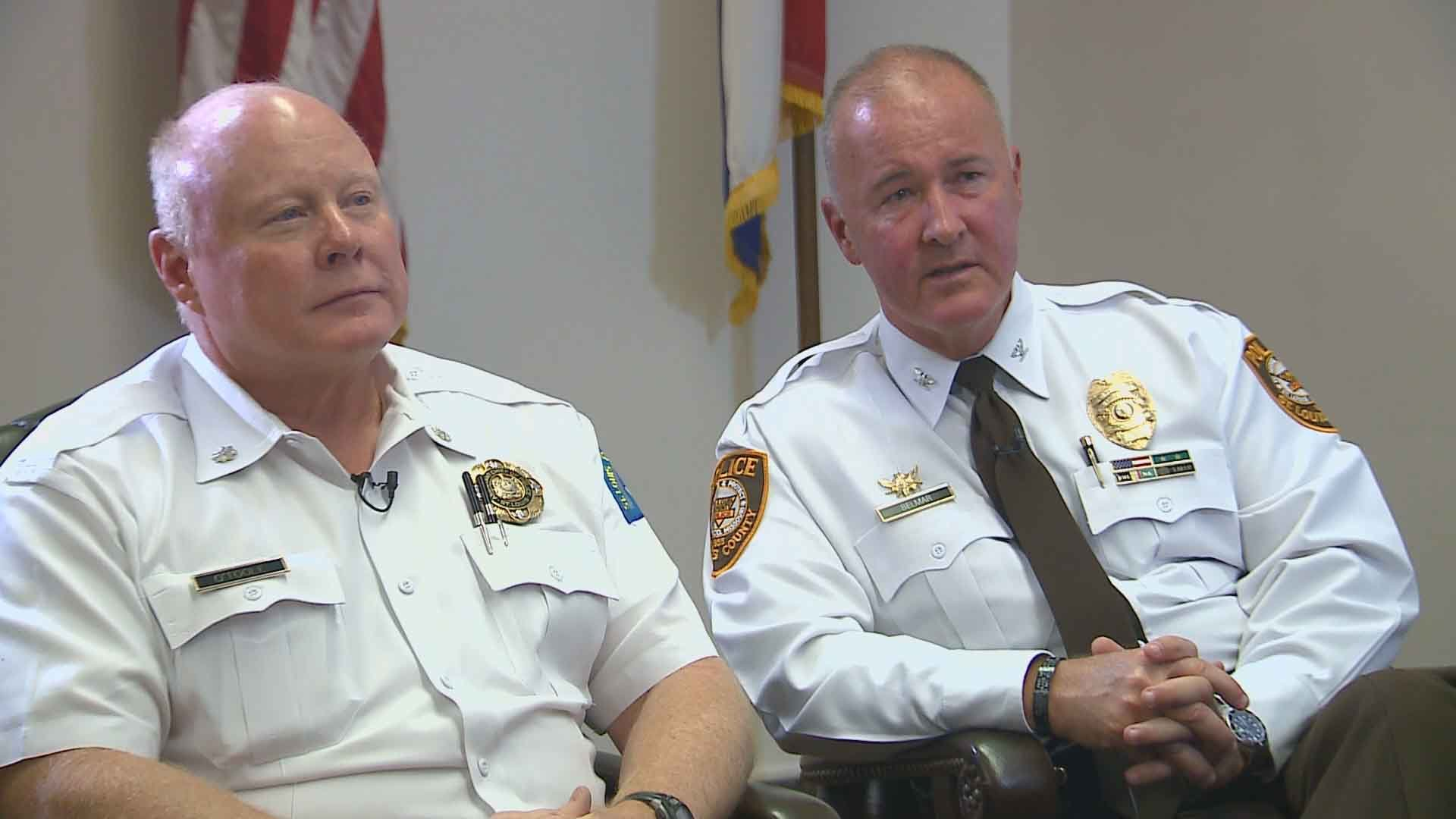Acting St. Louis Police Chief Lawrence O'Toole (L) and St. Louis County Police Chief Jon Belmar (R). Credit: KMOV