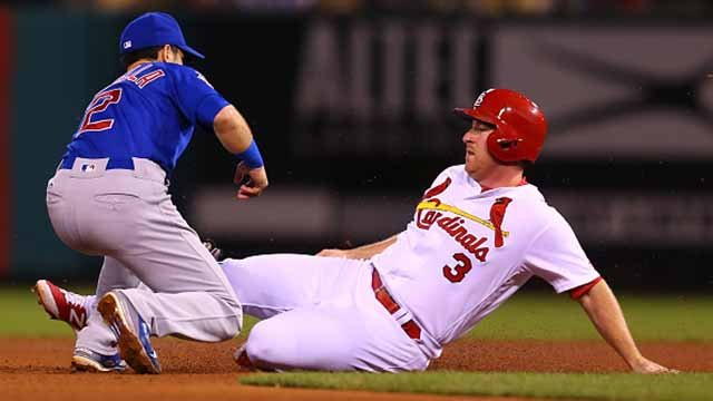 Jedd Gyorko #3 of the St. Louis Cardinals is caught stealing second base against the Chicago Cubs in the fourth inning at Busch Stadium on September 28, 2017 in St. Louis, Missouri. (Photo by Dilip Vishwanat/Getty Images)