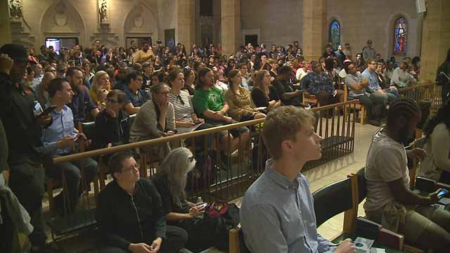 Activists held a town hall meeting in a downtown church  Thursday night. Credit: KMOV
