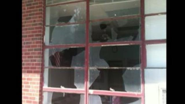 A broken window at Sister Thea Bowman Catholic School in East St. Louis (Credit: KMOV)