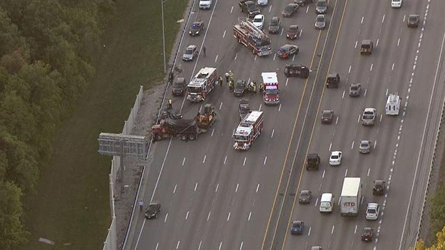A multi-car crash closed northbound Interstate 270 at Dougherty Ferry Monday morning (Credit: KMOV)