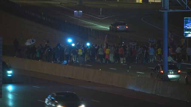 Protesters blocking EB I-64 near Jefferson on Tuesday. Credit: KMOV