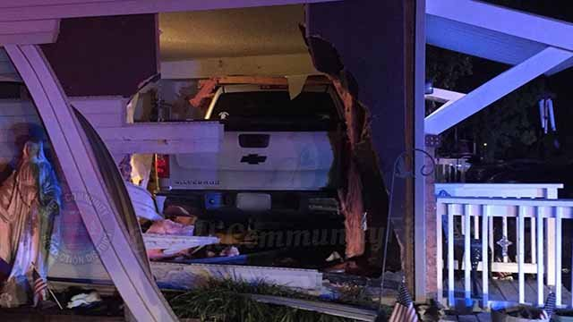 Truck crashes into home on Lonedell Road in Arnold. (Credit: Rock Community Fire District)