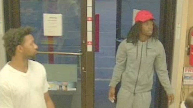 Police are looking for two subjects in red hats. (Credit: Cahokia Police)