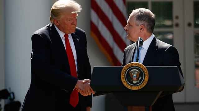 President Donald Trump shakes hands with EPA Administrator Scott Pruitt after speaking about the US role in the Paris climate change accord, Thursday, June 1, 2017, in the Rose Garden of the White House in Washington. (AP Photo/Pablo Martinez Monsivais)