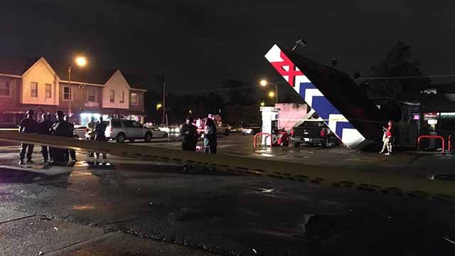 Storms caused a gas station canopy to collapse onto cars Monday near the intersection of St. Louis Ave and Vandeventer in North City. Credit: KMOV