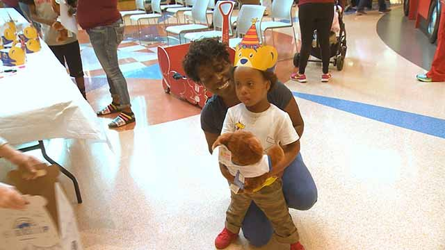 Through their Project Bear Hugs initiative, Build-A-Bear workshop gave 5,000 teddy bears to four St. Louis hospitals.  Credit: KMOV