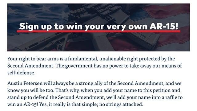 Screenshot from Austin Petersen's website.