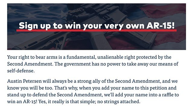 Screenshot from Austin Petersen's website.