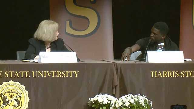 Mayor Lyda Krewson (L) and State Rep. Bruce Franks (R) at a panel discussion on policing and racial