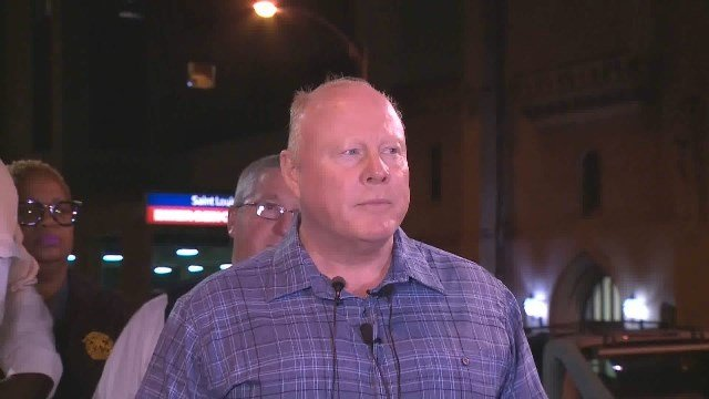 Chief O'Toole giving an update outside the hospital after an officer was shot early Thursday morning