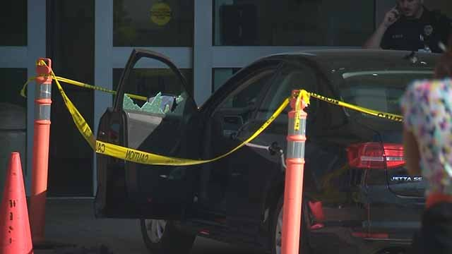 2 people in this car were wounded in a shooting in Wellston. Credit: KMOV