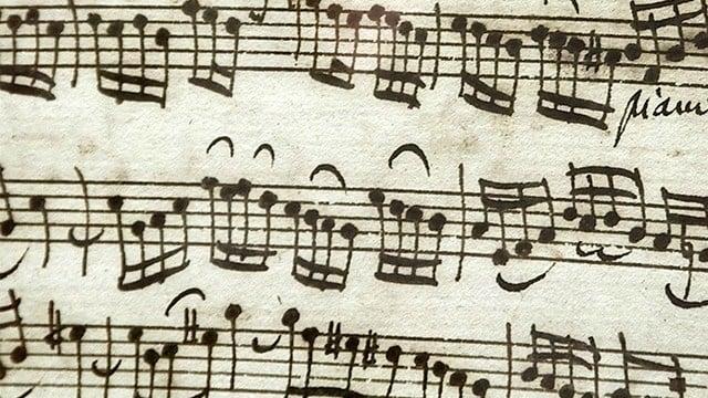 Music manuscript of score by Johannan Sebastian Bach. (AP Photo)