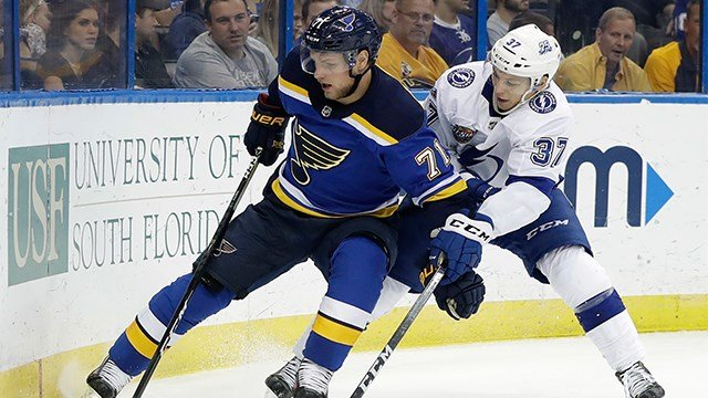 St. Louis Blues left wing Vladimir Sobotka (71), of the Czech Republic, keeps Tampa Bay Lightning center Yanni Gourde (37) from the puck during the first period. (AP Photo)