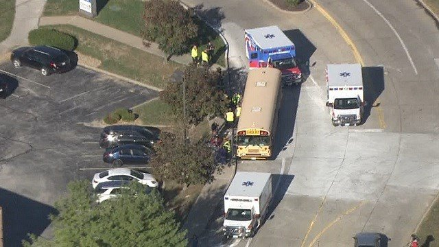 Emergency crews on scene of a school bus accident in O'Fallon, Missouri on October 16. (KMOV)