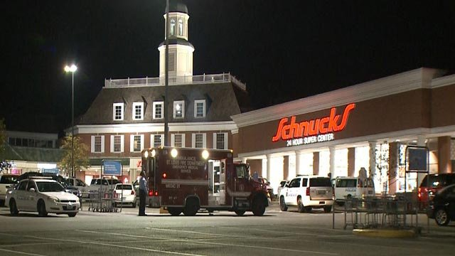 Ambulance outside the Schnucks on Hampton at Chippewa Tuesday morning (Credit: KMOV)