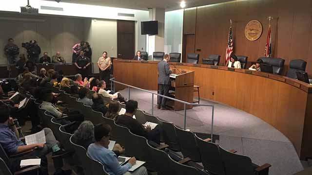 The St. Louis County Justice and Health Committee called the meeting to hear public concern about protests and demonstrations at the Galleria on September 23.. Credit: KMOV